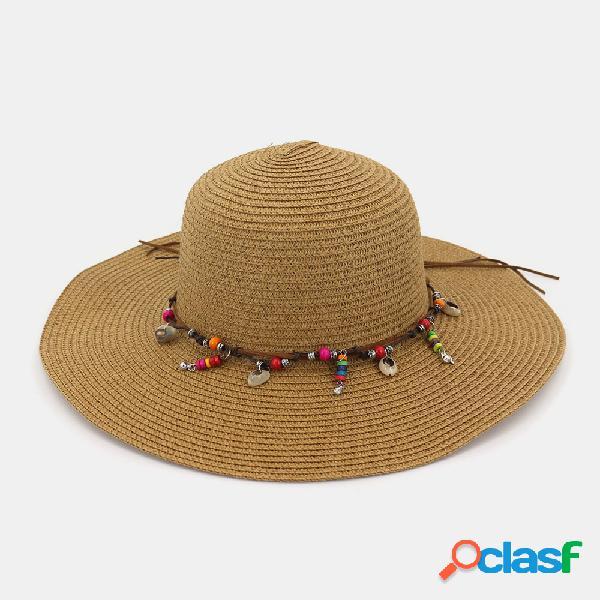Moda selvagem mulheres verão protetor solar chapéus de palha praia chapéu sombra chapéu de palha à beira-mar férias grande ao longo do chapéu