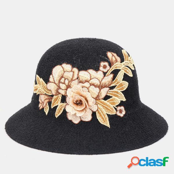 Bordado flor tridimensional estilo étnico senhoras cobertura protetor solar respirável sol chapéu praia chapéu bacia chapéu