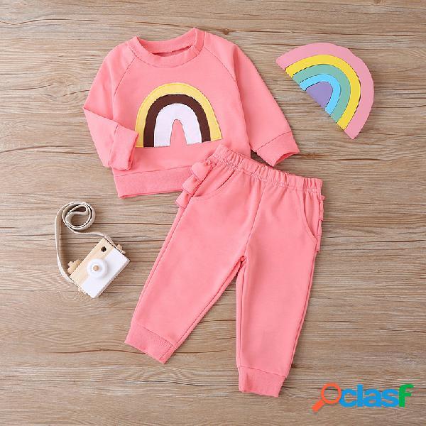 Conjunto de roupas casuais para bebê com mangas compridas de arco-íris do bebê para 6-24m
