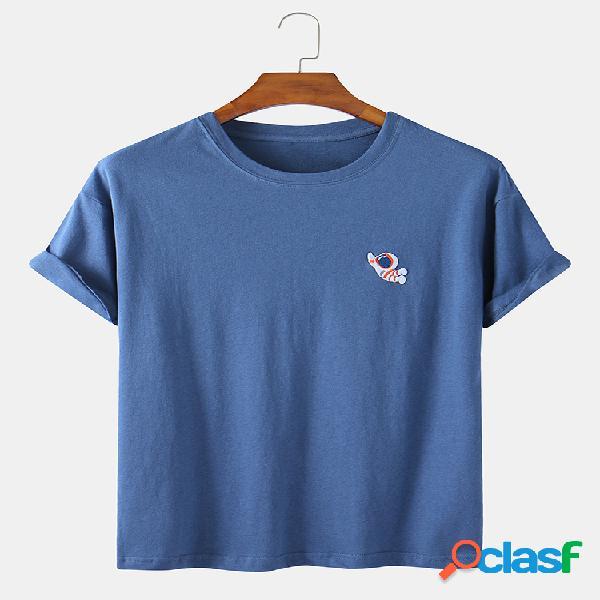 Camiseta masculina de algodão sete cores bordada de astronauta casual para casa