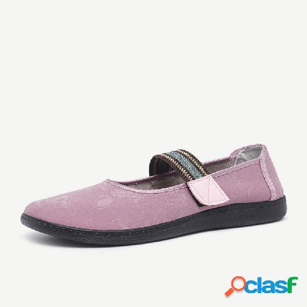 Mulheres casual mãe diária sapatos pano cor sólida gancho apartamentos de loop