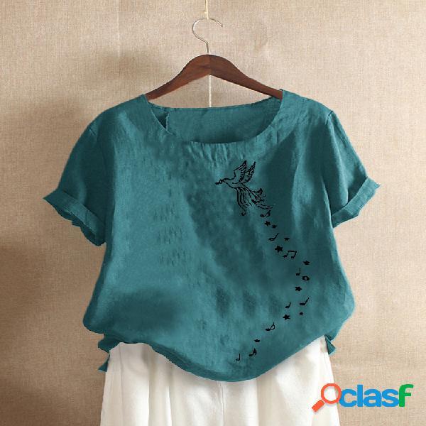 Camiseta de manga curta com gola o com estampa de pássaro