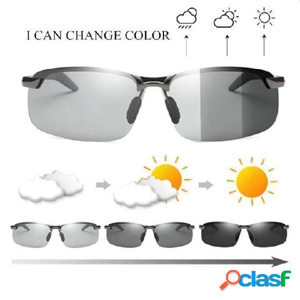 Óculos de sol de condução fotocrômicos com lente polarizada para montar ao ar livre