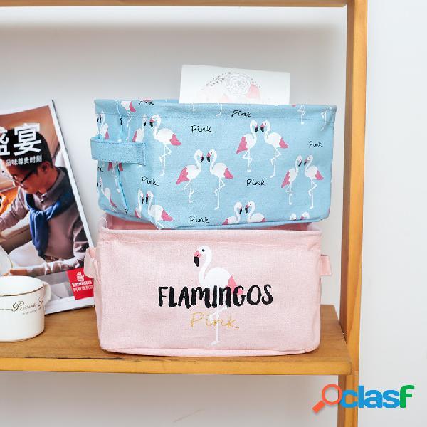 Armazenamento de mesa dobrável de linho de algodão série flamingo caixa
