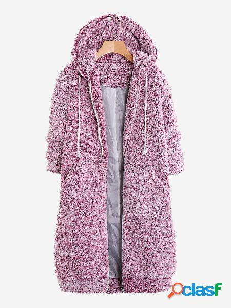 Casaco de lã com capuz de cor sólida