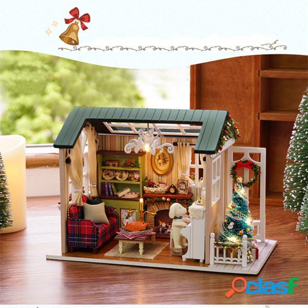 Cuteroom z-009-a casa de bonecas diy casa de boneca em miniatura coleção kit presente com luz