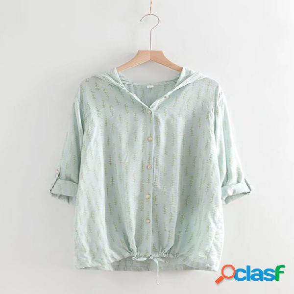 Blusa casual com capuz e manga comprida com cordão