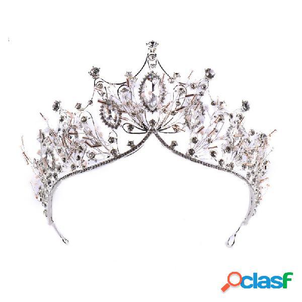 Elegante elástico de cabelo barroco de cristal headband tiara coroa casamento nupcial cabelo acessórios para mulheres