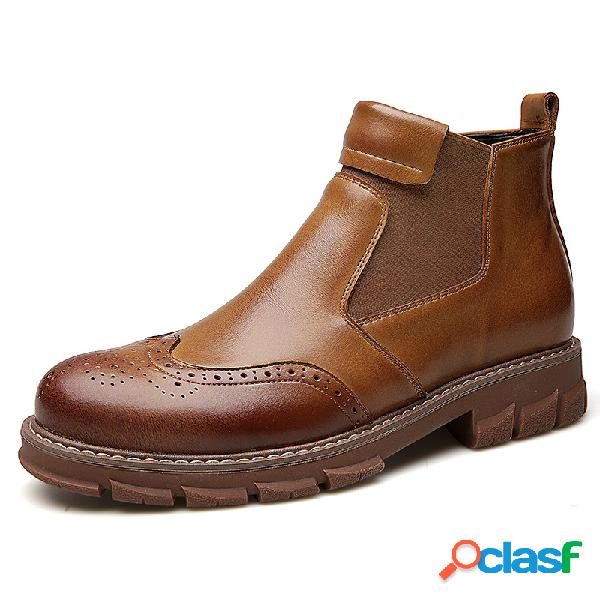 Homens classic brogue carved elastic slip on leather chelsea boots