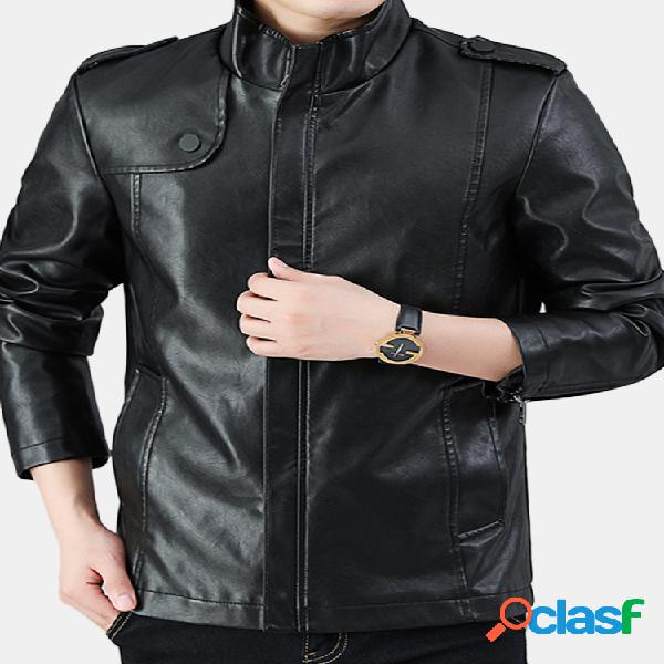 Casaco de couro casual masculino gola slim fit pu casaco com zíper