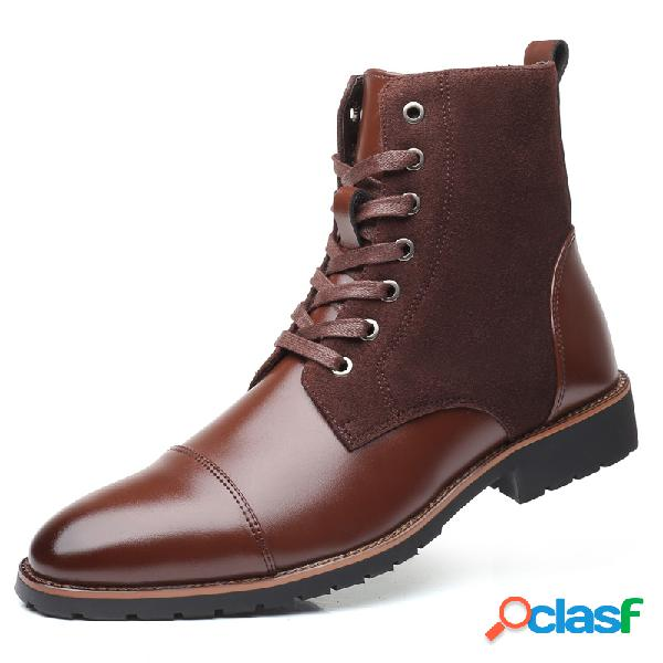 Homens vintage cap toe outdoor wearable lace up ankle boots