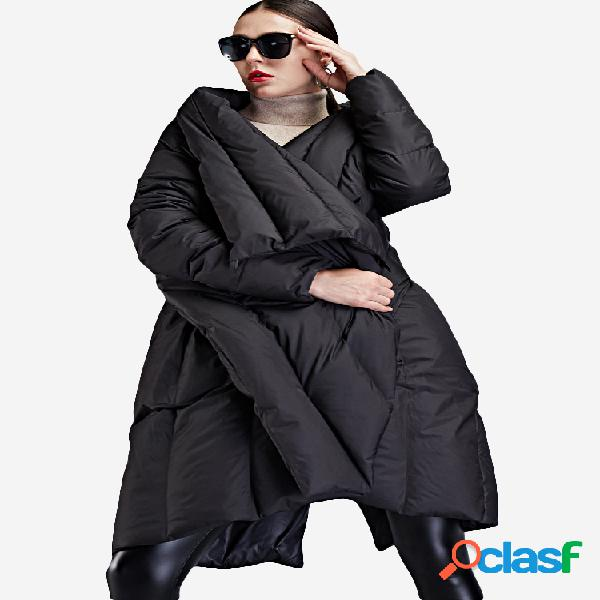 Lapela irregular hem cor sólida solto plus tamanho longo casaco