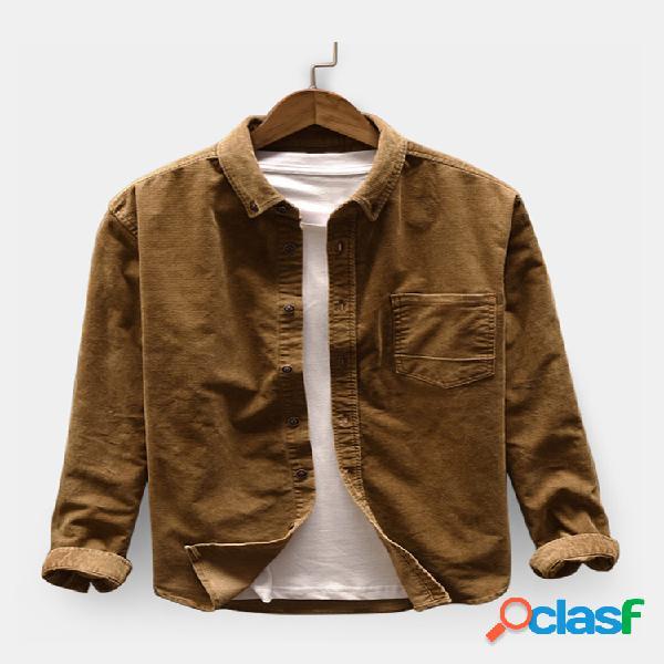 Masculino casual veludo cotelê manga comprida solta camisa jaqueta de gola baixa camisas