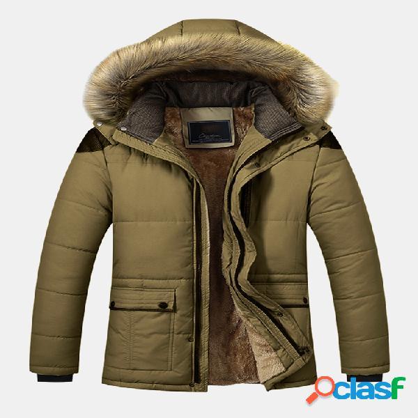 Mens winter mid comprimento engrossar casaco de lã parka casual com capuz de pele casaco de manga longa