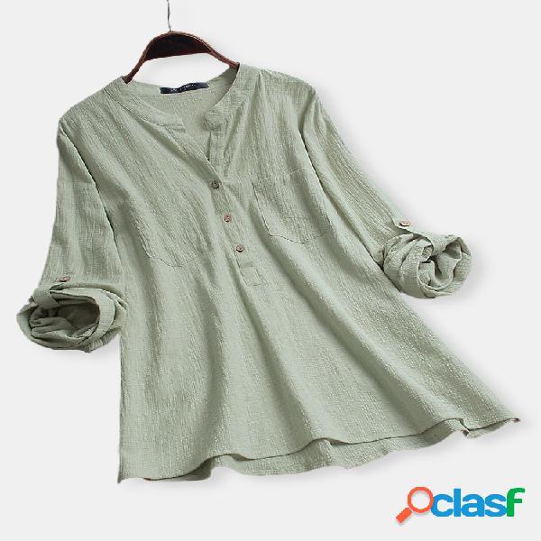Blusa vintage cor sólida com decote em v manga longa de algodão tamanho plus