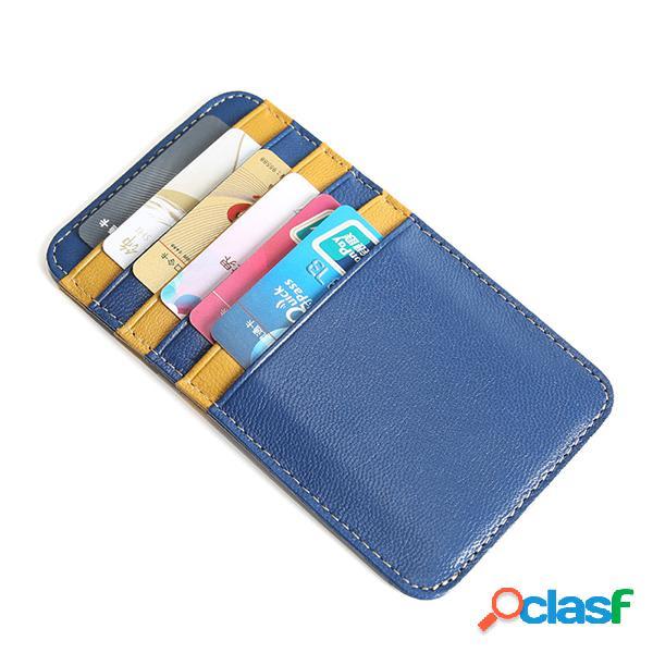 Couro genuíno stitching color card holder bolsa para mulheres