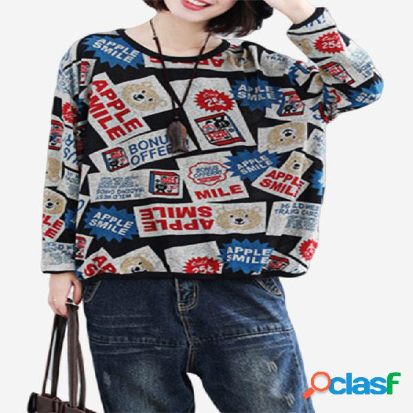 Malha imprimir manga comprida casual pullover sweatshirt