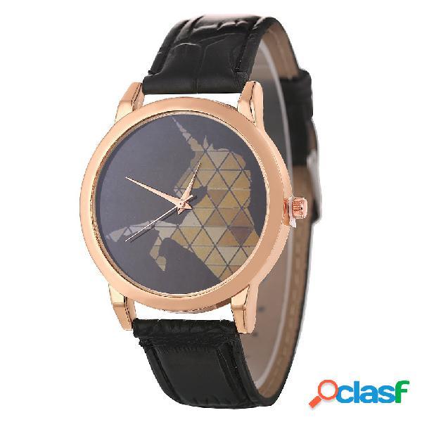 Relógio de couro impermeável do relógio de quartzo minimalista da forma para o relógio dos pares