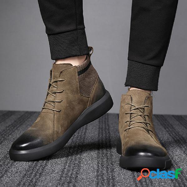 Botas casuais masculinas de couro colorido retrô com costura antiderrapante soft