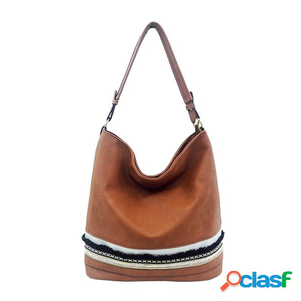 Mulheres pu couro balde bolsa grande capacidade tote bolsa ombro casual bolsa
