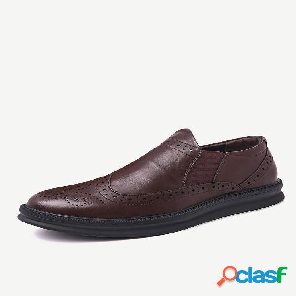Painéis elásticos de couro esculpido masculino antiderrapante em sapatos formais casuais