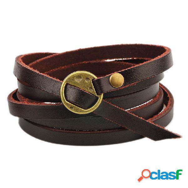 Retro multi camada pulseira de couro marrom homens pulseira criativa liga pulseira para mulheres dos homens