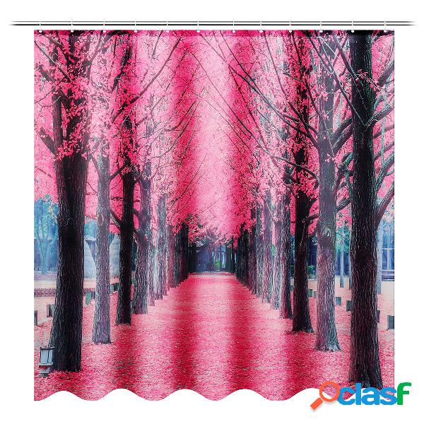 Sakura floral assento de cortina de chuveiro do banheiro à prova d 'água tampa tampa tapete de banho gancho
