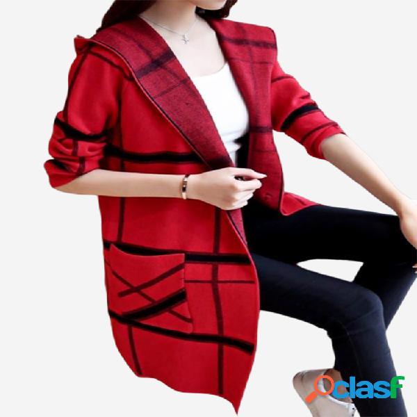 Camisola de malha com capuz tricotado listrado