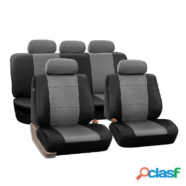 Conjunto de 9 unidades / conjunto de assento de carro de couro pu, tampas removíveis, proteção completa do balde dianteiro