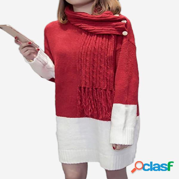 Contraste cor cachecol collar casual knited sweater