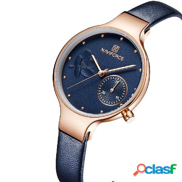 Impermeável elegante mulheres relógio de pulso pulseira de couro genuíno relógio de quartzo