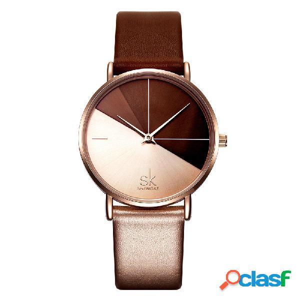 Moda feminina quartz watch couro banda irregular relógio duplo dial dial cor