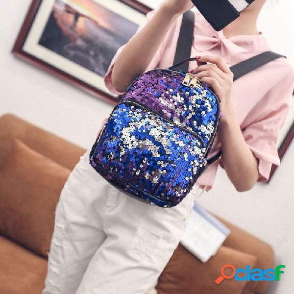 Mulheres mochila multi-funcional luminosa de grande capacidade
