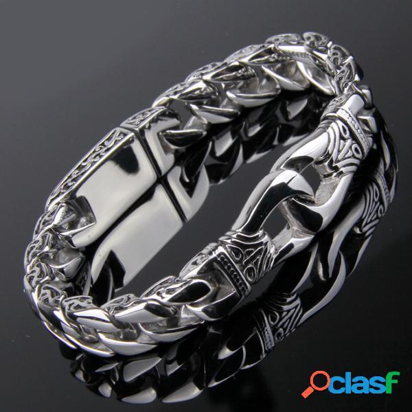 Pulseira de corrente de elo de aço inoxidável polido prata pesada pesada meio-fio
