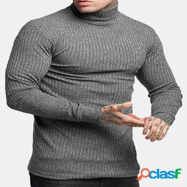 Breve gola básica dos homens cor sólida slim fit malha camisola casual