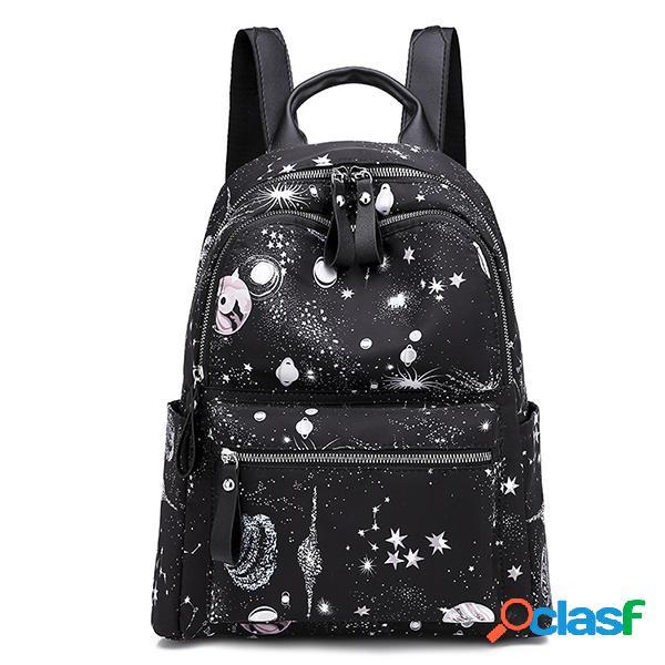 Mulheres de grande capacidade estrelado sky padrão ombro bolsa mochila