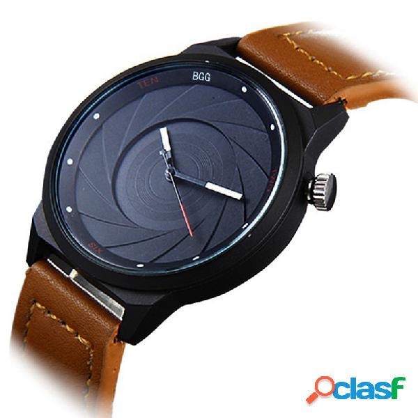 Relógio de quartzo de couro na moda à prova d 'água relógio de cintura de discagem ponto para homens assista