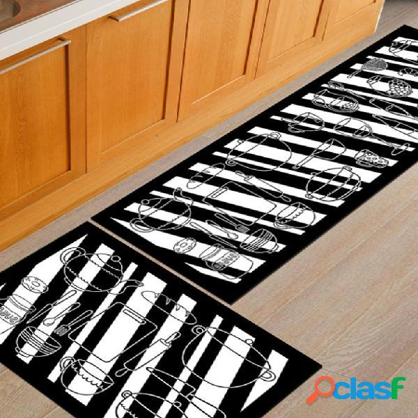 2 unidades / conjunto tapete de cozinha tapete antiderrapante banheiro tapete de porta