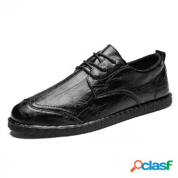 Homens estilo britânico comfy sole lace up casual sapatos de couro
