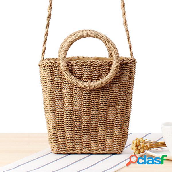 Bolsa feminina de palha praia de férias crossbody bolsa ombro sólido bolsa