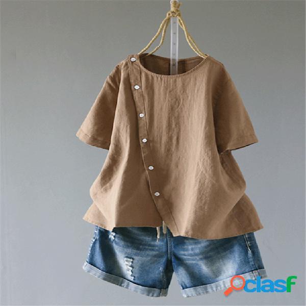 Casual blusa de manga curta de botão curto cor sólida