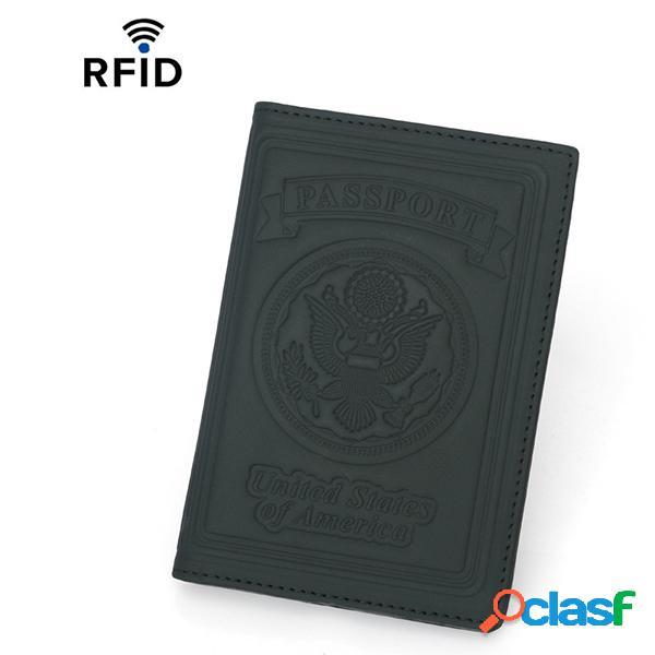 Couro genuíno rfid titular de passaporte antimagnético passaporte bolsa titular do cartão de carteira para homens