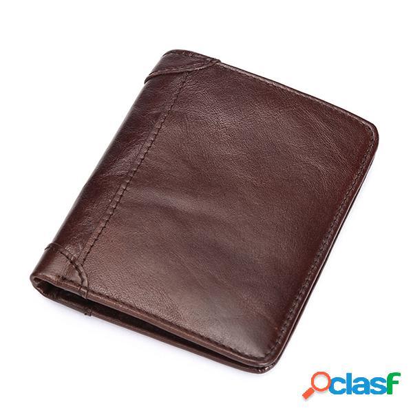 Couro genuíno vintage sólida planície moeda bolsa para homens