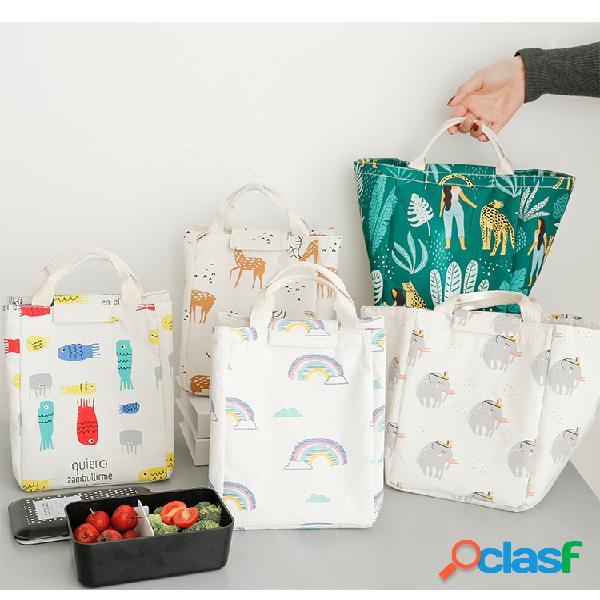 Isolamento grande portátil criativo em estilo japonês bolsa almoço em estilo nórdico bolsa animal planta padrão