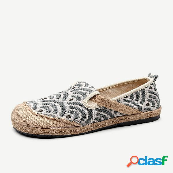 Mulheres confortável soft palha dedo redondo toe em sapatos rasos