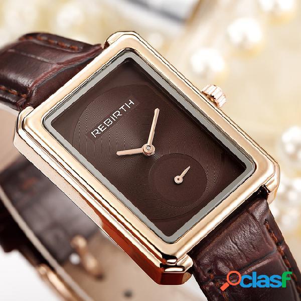 Relógio de pulso feminino com mostrador quadrado elegante design couro banda relógios de quartzo