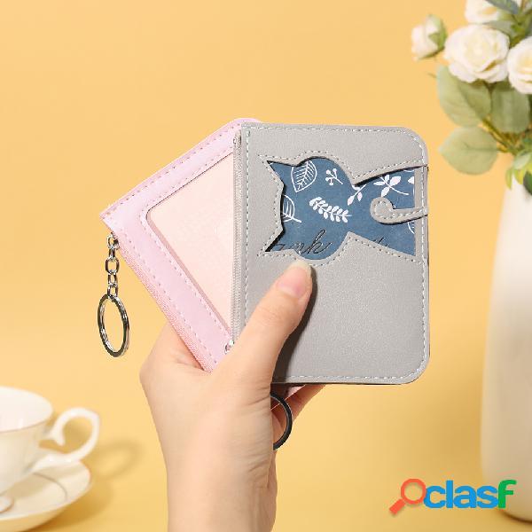 Mulheres bonito gato padrão titular do cartão animal id carteiras carteiras coin purse