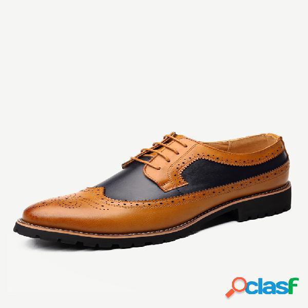 Sapatos formais casuais para homem entalhado em microfibra couro com costura antiderrapante brogue