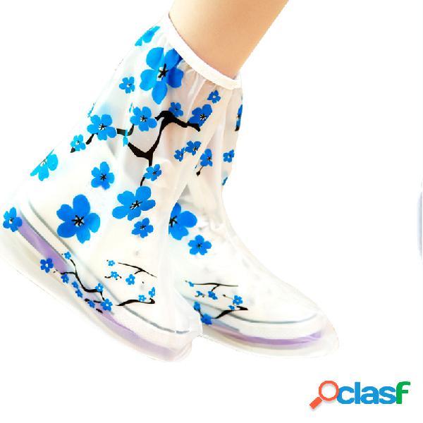 1 par pvc reutilizável chuva sapato cobre botas antiderrapantes engrossar solas capas de chuva ameixa flor azul galochas