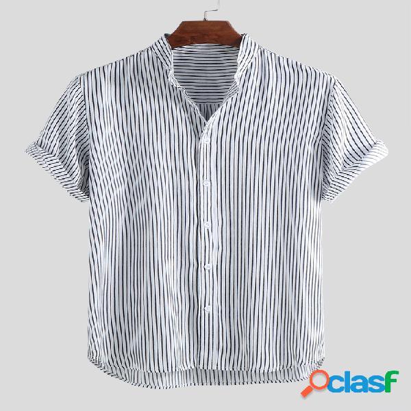 Camiseta masculina listrada respirável com gola curta manga curta casual solta